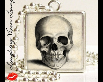 Skull Necklace - Horror Jewelry - Vintage Skull-A Small Pendant - Square Or Round - Skull Jewelry - Horror Necklace - Skeleton Jewelry