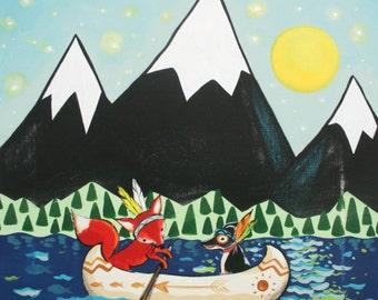 White Caps Yellow Moon-  woodland animals, fox, dog, camping, housewares. Baby, kids, art for kids
