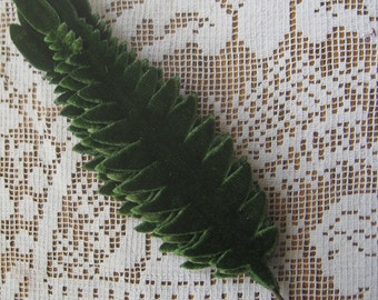 Millinery Velvet Leaves Czech Republic 6 Embossed Green Velvet Leaves Fern Fronds  NLC 113 DG