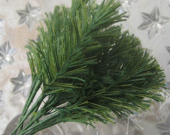 12 Tiny Fabric Pine Sprigs From Austria Millinery Leaves For Christmas Crafting