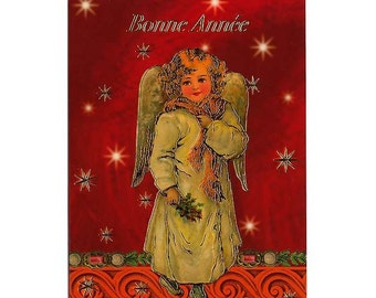 Christmas Card Printed In French  Made In Germany Glittered With DIY German Dresden Trim