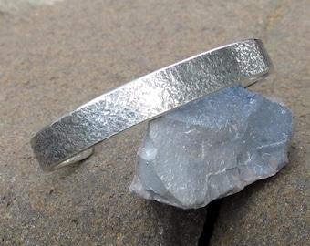 Sterling Silver Cuff Bracelet, Corroded Look, Men's Size