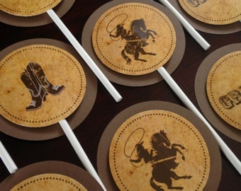Vintage Cowboy Cupcake Toppers: Birthday Western Hoedown Party set of 12 by Belleza e Luce