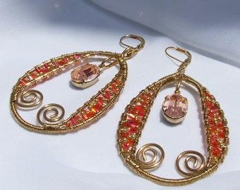 Orange Beaded Earrings, peach gold mosaic dangles