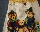 Teddy Bear Kitchen Towel with Crocheted Topper