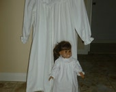 Matching White Flannel Nightgown for Child and Doll