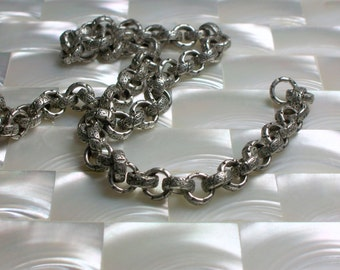 1 Foot Chain Embossed Chain 7mm Rolo Link Chain Antiqued Silver Chain Dull Decorative Open Link Nickel Free Brass Jewelry Jewellery Supplies