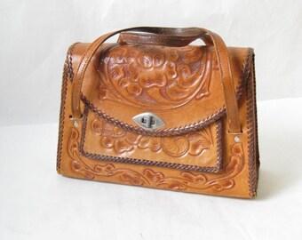 Vintage 50s Tooled Leather Western HandBag