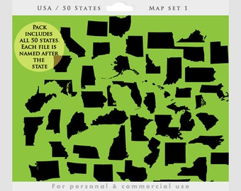 State clipart - states clip art, geographic, geography, map, patriotic, USA, US states, south, central, west, personal and commercial use