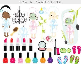 Spa clipart - sleepover clip art, slumber party, fashion, make-up, makeup, lipstick, girls day spa, nail polish, girly, perfume girl's night
