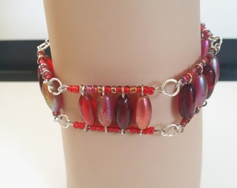 red beaded wire bracelet, beaded costume jewelry
