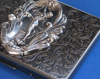 Metal Cigarette case Business credit card Case Steampunk wallet with Eve Antique silver Slim Exclusive Impressive accessory