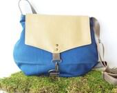 SALE satchel • canvas crossbody bag • cobalt blue canvas - tan faux leather • small messenger - cross body purse - fall winter bag