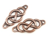 INFINITY CENTERPIECE LINK - Antique Copper 35mm Focal Bar - TierraCast Pewter Rivetable Leather Jewelry Findings (pf2027)