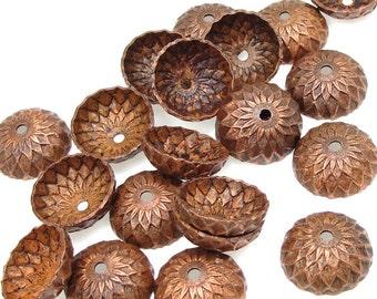 36 Acorn Caps - Vintaj Artisan Copper 13mm Acorn Bead Caps Lightly Aged Antique Copper Acorn Beadcaps Fall Autumn Supplies Findings CBC0001