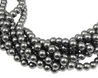 100 DARK GREY 4mm Pearl Beads - 5810 Swarovski Crystal Pearls - Charcoal Grey Pearls - Swarovski Beads