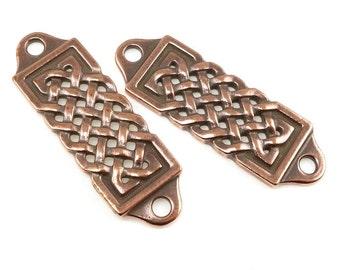 Rivetable Focal Bar - TierraCast CELTIC CENTERPIECE - Antique Copper 36mm Flat Knotwork Link Leather Jewelry Supplies (pf2035)