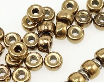 METALLIC BRONZE 6mm Czech Glass Beads - Large Hole Czech Beads - Light Golden Brown Rustic Distressed Finish - Roll Beads Pony Beads