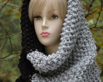 Black and Gray Colorblock Knit Infinity Scarf Cowl Hood, Circle Scarf, Oversized Chunky Knit Cowl, Women's Scarf, Winter Scarf Cowl, Wool