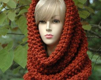 Cinnamon Spice Knit Infinity Scarf Cowl Hood, Circle Scarf, Women's Scarf, Winter Scarf, Chunky Scarf Cowl, Knitted Cowl Scarf, Wool Scarf