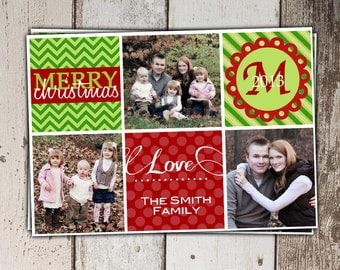 SALE - Christmas Card Collage - monogram - Multi-Picture Layout - Print Yourself