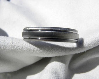 Titanium Ring, Two Grooves, Frosted Finish, Wedding Band