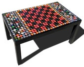 Recycled Bottle Cap Coffee Table / Black table, clear acrylic top with a checker board pattern / Magnetic Top