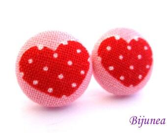 Heart earrings - Pink heart earrings - Heart stud earrings - Heart studs - Heart post earrings - Heart posts sf1111