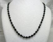 Black Crystal Beaded Necklace - Vintage 40s 50s - Single Strand