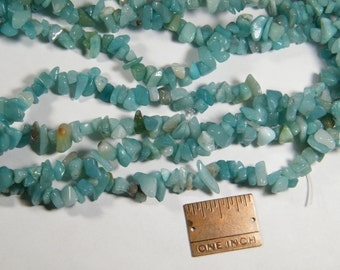 Chip beads: 36 inch strand Amazonite chip beads (dyed), beautiful opaque aqua, supplies