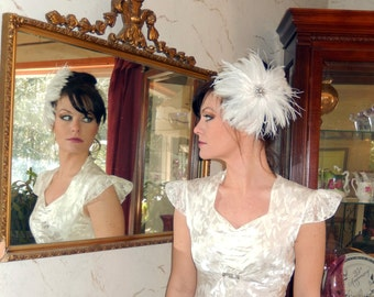 Haute Couture BELLA Feathers and Rhinestone Fascinator CRBoggs Original