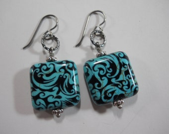 Blue Turquoise Howlite Square Beads with Black Swirl Pattern and Silver Ear Wires