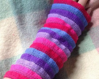 Red, pink, lavender, purple and blue stripe arm warmers