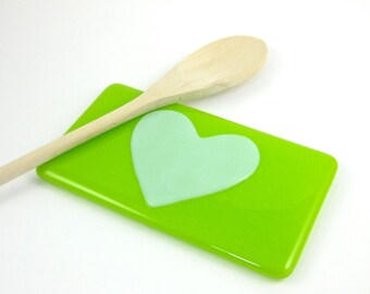 Green Heart Fused Glass Spoon Rest - Green Glass with a White Heart Spoon Rest - Butter Dish