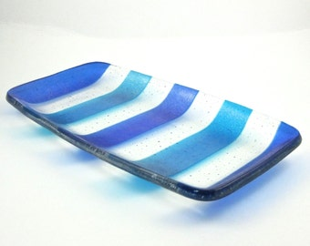 Glass Serving Dish Blue and Turquoise Striped Glass Dish - Fused Glass Serving Plate