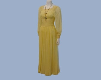 vintage dress / Float on Air Vintage 1940's Lemon Meringue Chiffon Goddess 40s Dress