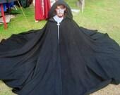 Black Full Circle Wool Cloak Ready to Go Halloween, SCA, LARP, Pagan, Renaissance