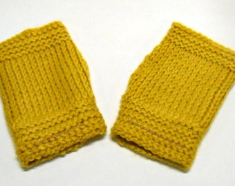 Fingerless Gloves Crochet Wrist Warmers Mustard Yellow Texting Gloves