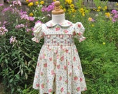 Rose pink bouquets smocked dress, baby, toddler, blue flowers, yellow dress, Easter dress, ready to ship, Size 24Months, 2T