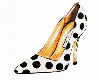Print of Polka Dot Shoe Fashion Illustration
