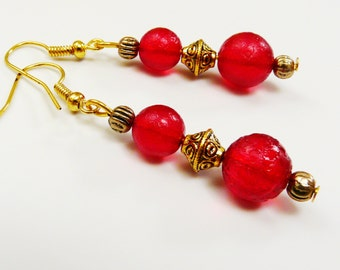 Red Gold Earrings Antique Gold tone Dangle Earrings with Bright Red Translucent Glass Bead Earrings