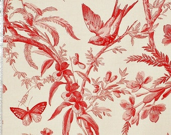 Red toile fabric bird flower interior home decorating material  cotton by the yard