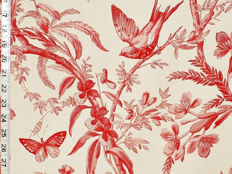 Red Toile Fabric Bird Flower Interior Home Decorating Material