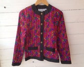 Vintage 90s Colorful Quilted Silk Jacket