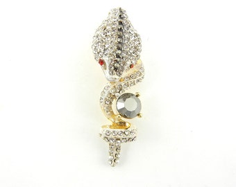 White Cobra Snake Pendant Gold-tone Rhinestones