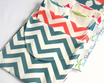 4 Reusable Sandwich/Snack Bags - Organic Cotton, Eco Friendly - Choose your sizes and colors --- Back to School