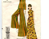 Vintage 1960s Vogue Special Design Pattern 7103 MOD Misses Wide-Leg Hippie Pants, Roll Collar Blouse, Long Maxi A Line Dress Size 14 Bust 34
