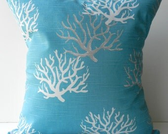 New 18x18 inch Designer Handmade Pillow Case in white and grey coral on turquoise blue
