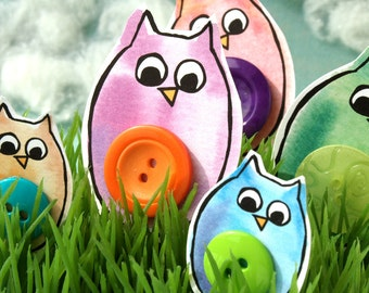 Watercolor Button Belly Owls