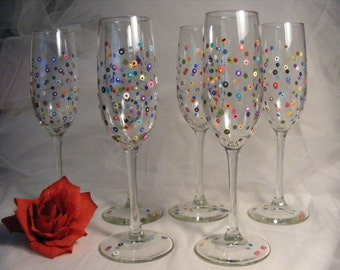polka dot champagne flutes -fun and colorful for New years Eve, or wedding, bridesmaid, baby shower bithday - can be personalized, too
